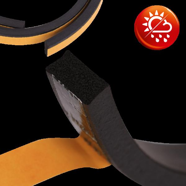 EPDM Moosgummi schwarz Vierkant-Profil einseitig selbstklebend
