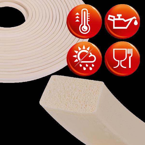 silicone sponge rubber white square profile